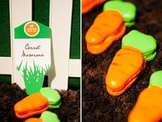 """While not strictly """"healthy"""", these carrot macarons are a great alternative to all that Easter chocolate (and gluten free! Macarons, Peter Rabbit Party, Dirt Cake, Childrens Meals, Veggie Patch, Farm Party, Easter Chocolate, Hoppy Easter, Sans Gluten"""