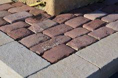 Antique sandstone pavers. Reclaimed antique french cobblestone pavers. 14x20 cm