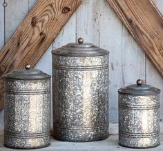 Every farmhouse kitchen needs a set of these Tall Galvanized Canisters! These canisters are perfect to store goodies or organize your kitchen spatulas and accessories! - Constructed from galvanized me Galvanized Decor, Galvanized Metal, Galvanized Buckets, Corrugated Metal, Antique Farmhouse, Farmhouse Decor, Farmhouse Style, Farmhouse Ideas, Urban Farmhouse