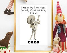 Coco Movie Poster, Coco Disney Art, Coco Movie Printable, Coco Disney Party, Coco Disney Pixar, Coco Birthday, Coco Decorations, Coco Quotes Disney Art, Disney Pixar, Birthday Bash, Movie Quotes, Bookends, Singing, Baby Shower, Play, Turning