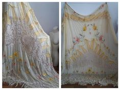 Rare ! Antique  Pastel Yellow Lace Curtain| Handembroidered Curtain | Silk Lace Curtain