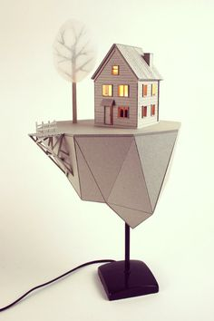 Floating island with house cardboard table lamp by LifeInCardboard.
