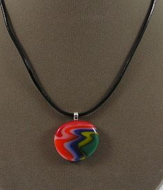 Colorful Fused Glass Necklace NE60052. $25.00, via Etsy.