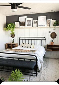 Small Room Bedroom, Dream Bedroom, Home Bedroom, Bedroom Ideas, Master Bedroom, Bedroom Decor For Couples, Boho Bedroom Decor, Bedroom Wall, Industrial Bedroom Decor