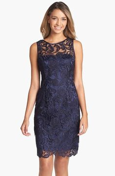 bf3608652 Adrianna Papell Illusion Bodice Lace Sheath Dress ( Size 12)   AdriannaPapell  Cocktail Vestidos