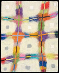 "Jenne Giles -- ""Beams"" - 2009, felt painting (merino wool, yak, silk, mixed media)"