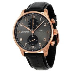 IWC Portuguese Grey Dial Chronograph Rose Gold Leather Automatic Men's Watch IW371482 - Portuguese - IWC - Shop Watches by Brand - Jomashop