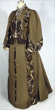 c. 1891 Afternoon Reception Gown of Olive Green Ottoman Silk with Matching Brocaded Cut Velvet