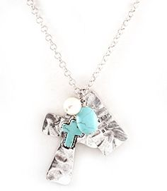 """Accessory Accomplice Hammer Finish Polished Silvertone Turquoise Cross Engraved """"He Loves Me"""" Pendant Necklace Accessory Accomplice http://www.amazon.com/dp/B00LNG5DNE/ref=cm_sw_r_pi_dp_3e79tb1AB8A96"""