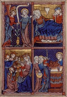 One of five full-page miniatures, usually sub-divided into four scenes per page, from the Barlow Psalter.