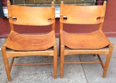 Set of Four Borge Mogensen Leather and Oak Chairs image 3