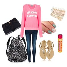 """""""Back 2 School outfit 6"""" by pinktuber06 on Polyvore Roll up the sleeves if it gets too hot!"""