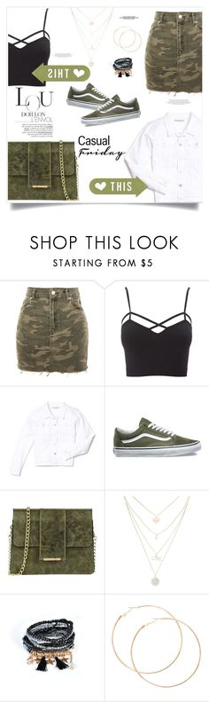 """Camo casual Friday"" by kiaconaty ❤ liked on Polyvore featuring Topshop, Charlotte Russe, Mavi, Vans, Tuscany Leather, vintage and plus size clothing"