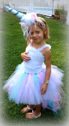 Magical Unicorn Halloween Costume - Includes Bustle Tutu skirt, Petti Ruffle top and Unicorn horn and ears headband
