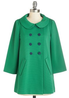 Bea and Dot Frolic with Me Coat. Cozy up to your playful side by slipping into this grass-green swing coat from Bea  Dot. #green #modcloth