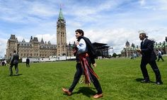Prime Minister Justin Trudeau walks to parliament following on national indigenous peoples day on 21 June.