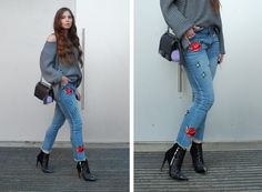 Fashion Love: ZAFUL ROSE EMBROIDERY JEANS*, OVERSIZED KNIT & SEQUIN BOOTS