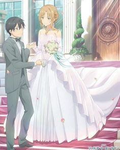 Sword Art Online, Kirito and Asuna, Wedding Schwertkunst Online, Arte Online, Online Anime, Yui Sword Art Online, Sao Fanart, Desenhos Love, Sword Art Online Wallpaper, Kirito Asuna, Anime Wedding