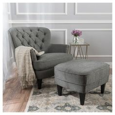 Tafton Club Chair and Ottoman - Gray - Christopher Knight Home