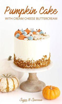 Pumpkin Layer Cake with Cream Cheese Buttercream Layers of moist, fluffy pumpkin cake with cream cheese buttercream. A total Fall classic and so easy to make Fall Cake Recipes, Pumpkin Cake Recipes, Layer Cake Recipes, Fall Desserts, Delicious Desserts, Layer Cakes, Poke Cakes, Snacks Recipes, Health Desserts