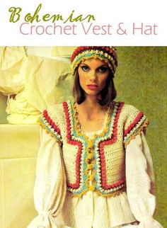 """70s Vintage Crochet """"PEASANT"""" Vest & Hat - PDF Pattern"""