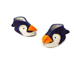 Handmade felted Penguin baby booties! Made with love in Kyrgyzstan.   #penguins #baby #babies #babybooties #babyshoes #felt #wool #handmade #fairtrade #Kyrgyzstan