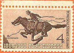Pony Express 100 anniversary issue of 1960 Old Stamps, Rare Stamps, Pony Express, Going Postal, Guernica, Old West, Western Art, Stamp Collecting, Mail Art