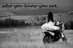 """Quote:  """"Don't get confused between what people say you are and who you know you are.""""    ~Oprah~  A ballerina and a dirt bike by Kamloops' dance photographer, Classic Blue Photography."""