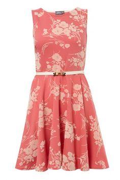 Oriental Floral Flocked Skater Dress on Womens Clothing