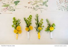 Bragan & Roxanne's Sunny Celebration Different Flowers, Types Of Flowers, Yellow Wedding, Summer Wedding, Green Boutonniere, Boutonnieres, Flower Bouquet Wedding, Flower Bouquets, Button Holes Wedding