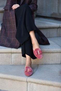 Blush velvet loafers.