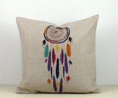 Colorful Feather Dream Catcher 45cm 18'  Vintage Retro Linen Cotton Cushion Cover Shabby Throw Pillow Case Pillowcase Native Indian Culture