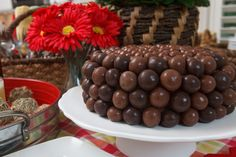 Malted Milk Ball Cake - On the fifth day of Christmas, my true love gave to me, a chocolate cake covered with balls of candy! Only seven more days in the kitchen until Christmas. Please check back tomorrow for another goodie or two. Merry Christmas!