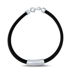 Bracelet-925-Sterling-Silver-Decoration-Black-Silicone-Unisex-Man-Woman-Gift-Box