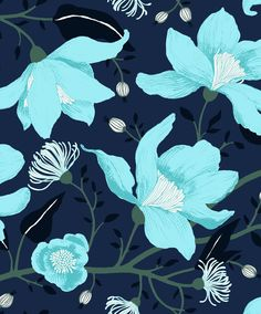 Clematis blue by Tanja Orsjoki - Wallpapers / Tapetit Vallila Interior Finland Turquoise Art, Turquoise Flowers, Wallpaper Direct, Room Wallpaper, Wallpaper Collection, Backgrounds Girly, Room Wall Painting, Wood Interior Design, Blue Wallpapers