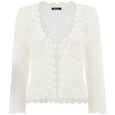 Roman Originals Ivory crochet shrug (160 RON) ❤ liked on Polyvore featuring outerwear, crochet shrug, white crochet shrug, white shrug cardigan, white shrug and cropped shrug cardigan