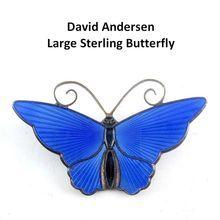 Large DAVID ANDERSEN Norway Sterling Silver Blue Enameled Butterfly Pin from Venus Vintage Jewelry on Ruby Lane
