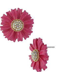 Betsey Johnson - PINK FLOWER STUD EARRING PINK