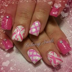 Breast cancer awareness nailart October is breast cancer awareness month show your support! #nailart #nails #breastcancer