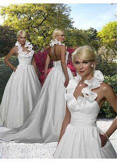 Elegante encanto exquisito de tafetán con volantes de bola vestido de novia