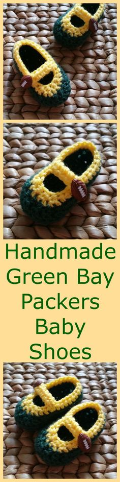 Calling all Green Bay Packers fans! These handmade crochet baby Mary Janes shoes are the perfect accessory to wear to support your favorite NFL team at their football game! They are crocheted with dark green and yellow yarn.  Free shipping with all orders! For more baby and toddler accessories, please stop by my Etsy shop at www.etsy.com/shop/sweetheartsandsoles