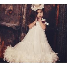 Seriously considering this whole ensemble for Annelise's 4 year old pictures.  J'aime Belle Vintage Lace Feather Pettidress ~ This gorgeous couture dress is oh so sweet!