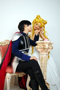 Sailor Moon and Prince Endymion cosplay.