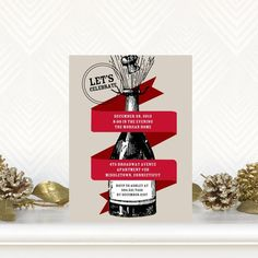 Let's ring in the New Year with some 'Vintage Bubbly!' Flat Holiday Party Invitations - Wiley Valentine - Winterberry - Red