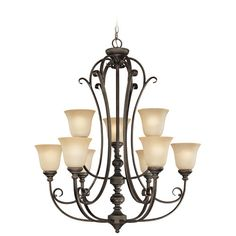 Barret Place Mocha Bronze Nine Light Chandelier