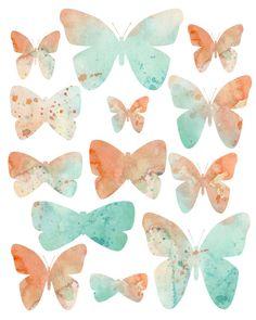 Peach Mint Watercolor Butterflies nursery print by Katrina Pete. butterflies and mint # butterfly nursery Butterfly Nursery, Butterfly Art, Butterflies, Nursery Prints, Nursery Decor, Peach Nursery, Butterfly Watercolor, Watercolour Art, Indie Art