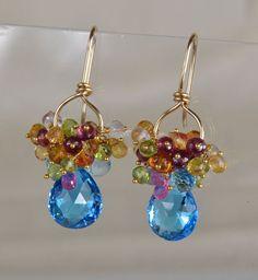 Blue Topaz  Gemstone Dangle Earrings by skyvalleyjewelry on Etsy, $195.00