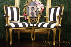 Black and White Striped Louis XV Chairs Gold French Chairs, Vintage Made to Order Black And White Chair, Black White Gold, Regency Furniture, Unique Furniture, Louis Xv Chair, Striped Chair, Single Chair, French Chairs, Wood Trim