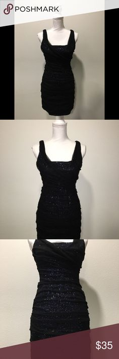 Express Black dress Lace over Sparly blue sequins Express black draped lace over sparkly blue sleeveless dress size 4,  cocktail party Express Dresses