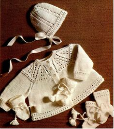 Baby bootees bonnet and jacket Knitting by PDFknittingPatterns